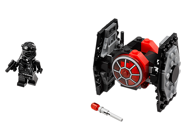 Intercept the Resistance with this First Order TIE Fighter Microfighter, featuring 2 flick missiles, red detailing and space to seat the included First Order TIE Pilot minifigure and blaster pistol.