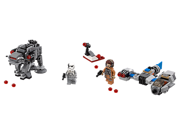 Build a micro-scale Resistance Ski Speeder and First Order Heavy Assault Walker with this LEGO® Microfighters dual pack, featuring 2 detailed models, mini stud shooter build and 2 minifigures.