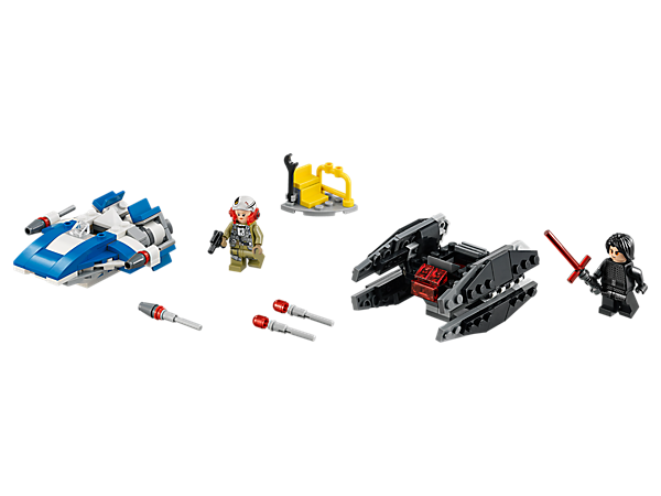 Play out LEGO® Star Wars Microfighters duels with the Resistance A-wing and Kylo Ren's TIE Silencer dual pack, featuring 2 detailed models, mini play starter build and 2 minifigures.