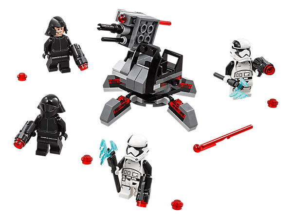 Take the battle to the Resistance with the First Order Specialists Battle Pack, featuring a rotating/elevating laser cannon with spring-loaded shooter and 4 minifigures with weapons.