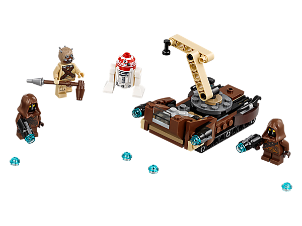 Keep the droid in top condition with this Tatooine Battle Pack, featuring a service vehicle with stud shooters and an articulated crane, 2 Jawas and a Tusken Raider minifigure.