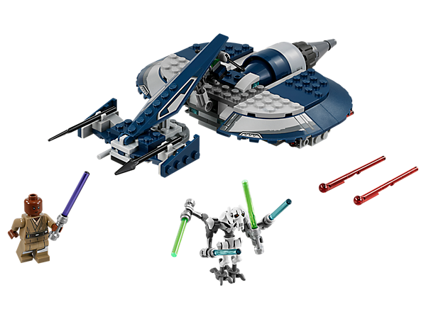 Engage in Star Wars: The Clone Wars action with General Grievous' Combat Speeder, featuring spring-loaded shooters, Lightsaber storage, Mace Windu minifigure and General Grievous figure.