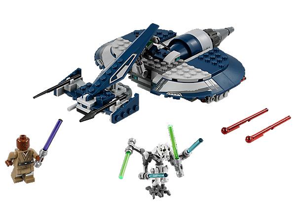 Stürz dich in die Action von Star Wars: The Clone Wars mit General Grievous Combat Speeder, mit federunterstützten Shootern, Lichtschwertfach, Minifigur von Mace Windu und einer Figur von General Grievous.