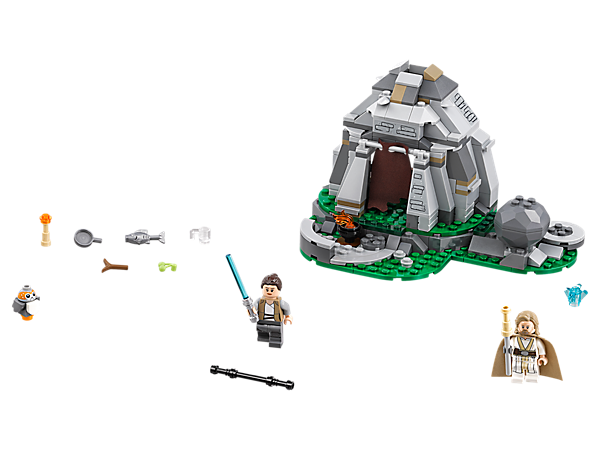 Train in the ways of the Jedi at the Ahch-To Island mountainside, featuring a hut with removable roof, buildable bonfire, training function, 2 minifigures and a Porg figure.