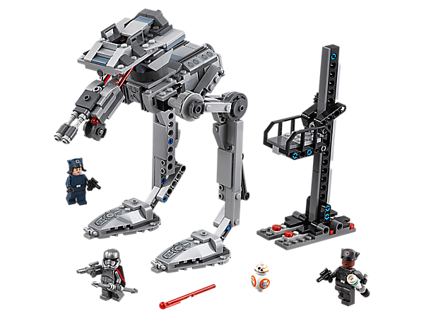 Take control of the under-construction First Order AT-ST, featuring posable legs, turret turning function and spring-loaded shooters, plus a hangar lift build and 3 minifigures.