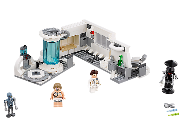 Help Luke recover at the Hoth Medical Chamber, with this LEGO® Star Wars set featuring an opening bacta tank, rotating examination chair, bed, medical tools, 2 LEGO minifigures and 2 medical droids.