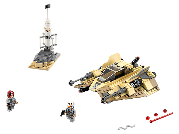 Patrol distant desert planets with the Sandspeeder, featuring an opening minifigure cockpit, spring-loaded shooters, sand-colored elements and 2 minifigures.
