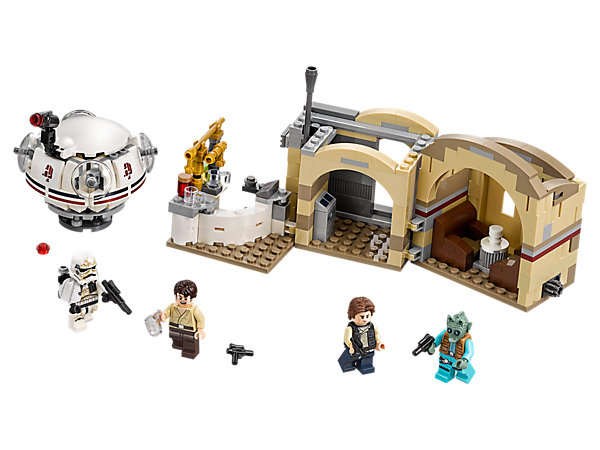Live the low life at Mos Eisley Cantina, featuring foldout design, sliding door, bar, table with tipping seats, a Ubrikkian 9000 pod and 4 minifigures.