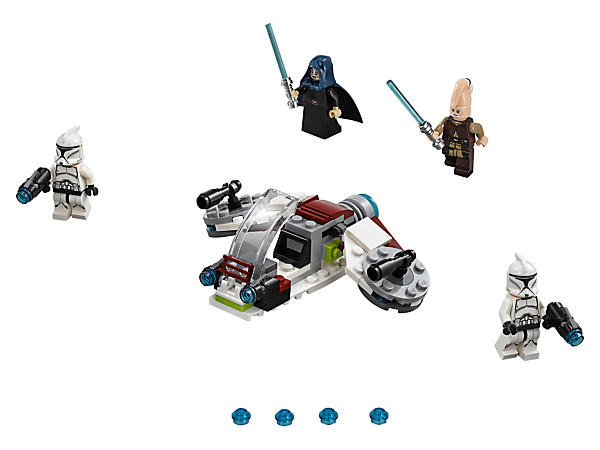 Join the conflict with the LEGO® Star Wars Jedi & Clone Troopers Battle Pack, featuring a speeder with stud shooters and 4 minifigures, each with their own weapon.