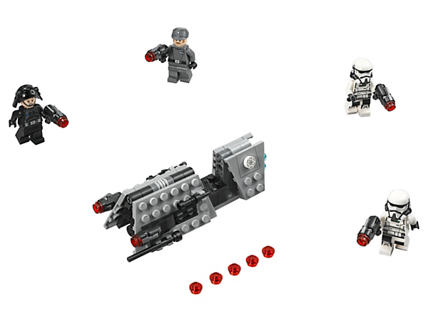 Track down enemies of the Empire with this LEGO® Star Wars Imperial Patrol Battle Pack, featuring a speeder with stud shooters and 4 minifigures, each with their own weapon.