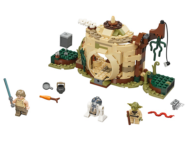 Learn the ways of the Force with this LEGO® Star Wars Yoda's Hut set, featuring foldout training sections, a 'vine' to swing from, a detailed interior, 2 minifigures and R2-D2.