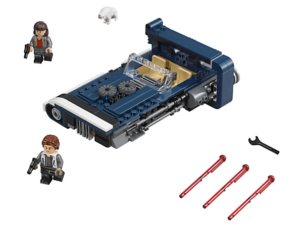 Evade the Corellian Hound with Han Solo's Landspeeder, featuring an opening hood with ammo storage, rear storage with secret cargo, hidden wheels and 2 spring-loaded shooters, plus 2 minifigures.
