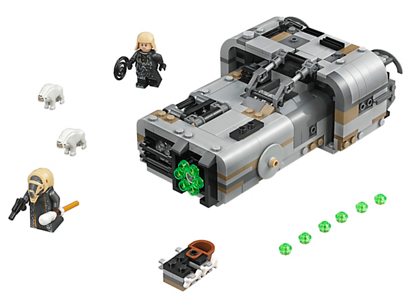 Zoom into action with LEGO® Star Wars Moloch's Landspeeder, featuring hidden wheels, multi-stud shooter, opening cage with 2 Corellian Hounds, and 2 minifigures.