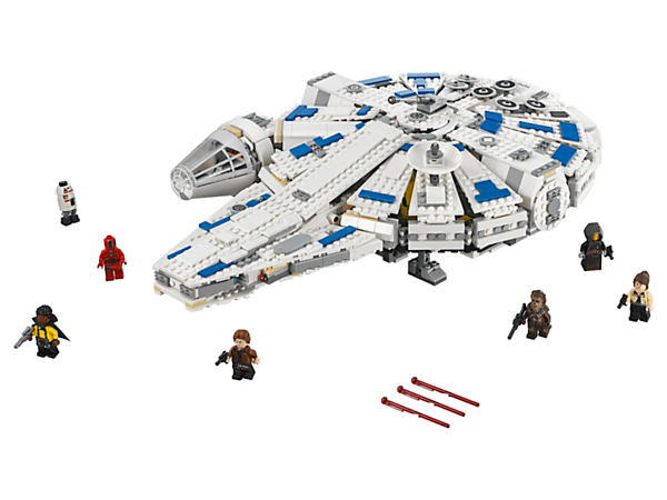 Evade Quay Tolsite aboard the LEGO® Star Wars Kessel Run Millennium Falcon, featuring 2 spring-loaded shooters, escape craft, detailed interior, 6 minifigures and a DD-BD droid.