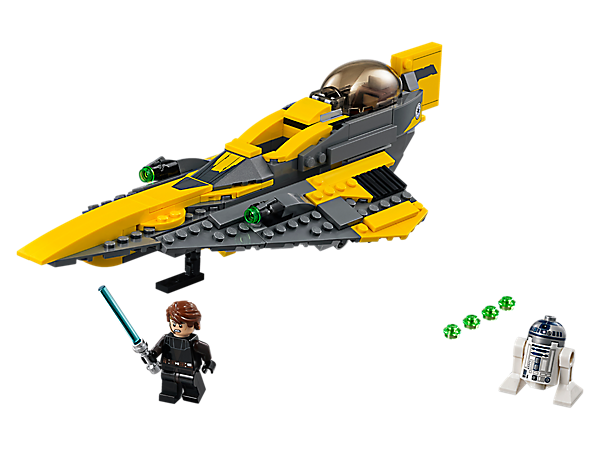 Fly a sleek interceptor with LEGO® Star Wars Anakin's Jedi Starfighter, featuring retractable landing gear, opening cockpit, Lightsaber storage, stud shooters, plus Anakin and R2-D2.