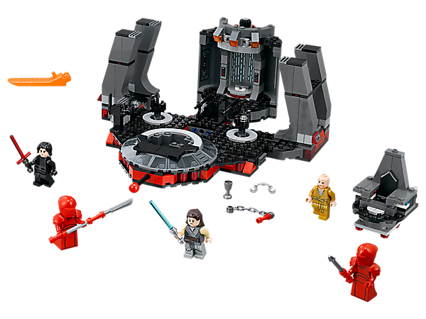 Help Rey battle Kylo Ren, the supreme leader and his Elite Praetorian Guards in Snoke's Throne Room, featuring a rotating doorway and throne, moving floor function and hidden compartments.