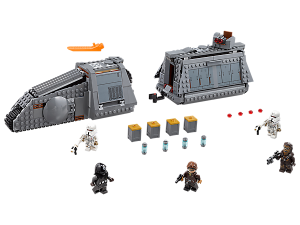 Raid the precious cargo aboard the LEGO® Star Wars Imperial Conveyex Transport, featuring a tracked engine section and detachable cargo wagon with opening sides and coaxium cargo, plus 5 minifigures.