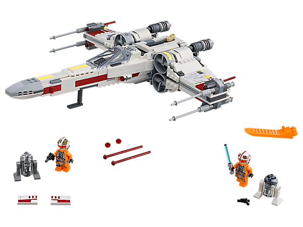 Stand by with the iconic X-Wing Starfighter featuring stud/spring-loaded shooters, cruise/attack mode function, Red Five/Red Three decoration, 2 minifigures and 2 droid figures.