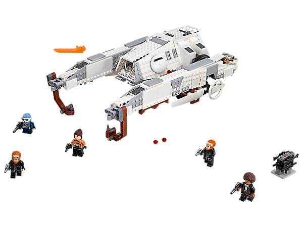 Lift off with the LEGO® Star Wars Imperial AT-Hauler, featuring an opening cockpit, stud shooters, lower platform, rotating pylons with lifting hooks, buildable cargo container and 5 minifigures.
