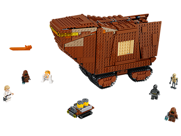Veď život Jawy na palubě mocného písečného bojového stroje, který obsahuje otevírací kokpit a rampu, snímatelné panely, detailně propracovaný interiér a řídicí pásy, a k tomu navíc 4 minifigurky a 2 droidy.