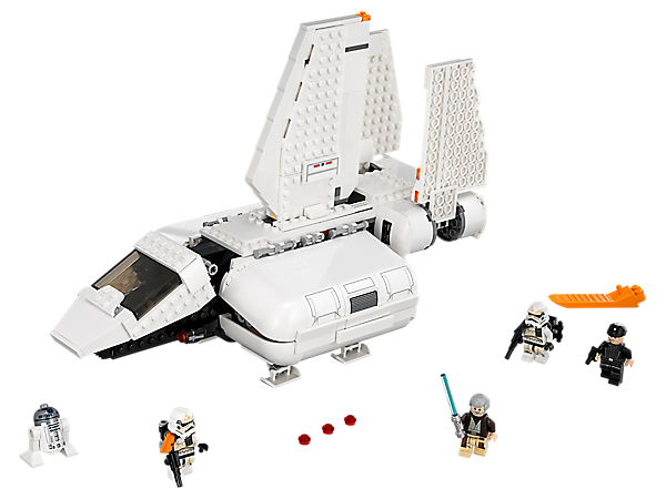 Deliver the troops with the Imperial Landing Craft, featuring folding wings, stud shooters, slide-out access ramp, opening cockpit and panels, troop storage, 4 minifigures and an R2-D2 droid.