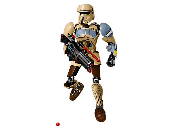 Charge into battle with this buildable and highly posable Scarif Stormtrooper, complete with double-barrel blaster rifle with spring-loaded shooter and stud shooter, plus decorated helmet and armor.