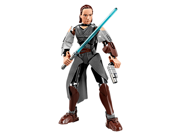 Battle the First Order with buildable and highly posable Rey, featuring textile detailing, Lightsaber, blaster pistol and wheel-activated arm-swinging battle function.
