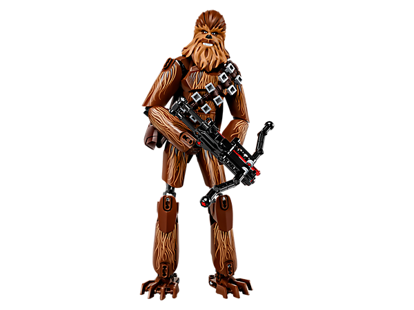 """¡Participa en la batalla con la figura articulada para construir de Chewbacca! Cuenta con """"pelo"""" decorado, una detallada cabeza, bolsa y canana desmontables y una ballesta con cañón automático."""