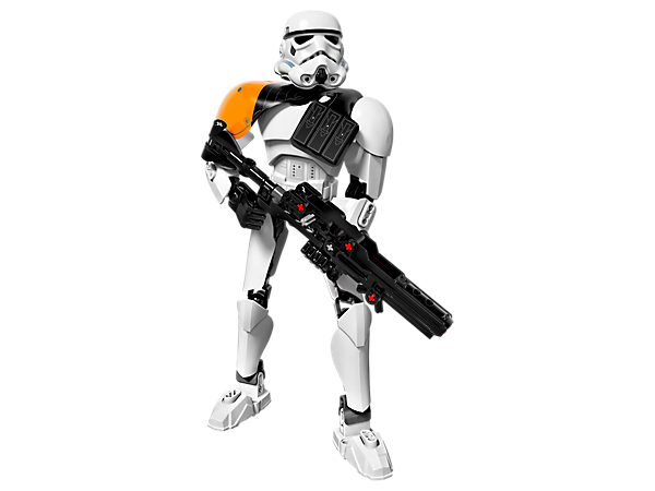 Command the troops with this buildable and highly posable 2-in-1 Stormtrooper Commander, featuring spring-loaded heavy blaster and alternate Stormtrooper design.
