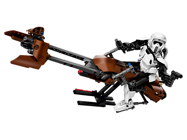 Patrol Imperial territory with this buildable and highly posable Scout Trooper figure with blaster pistol and buildable speeder bike with play handle!