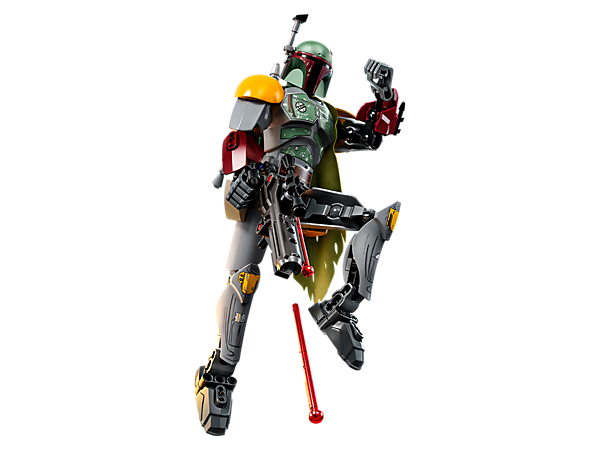 Fly into bounty-hunting action with this buildable and highly posable Boba Fett figure, featuring armor detailing, textile cape, antenna/scanner, jet pack and blaster rifle.