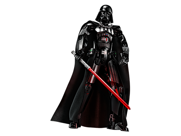 Rule with this buildable and highly posable Darth Vader figure, featuring armor/chest detailing, textile tunic and cape, arm-swinging function, removable helmet and a decorated head.