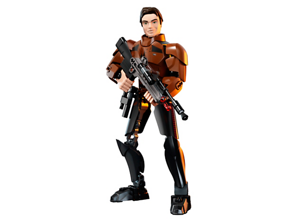 Smuggle your way to exciting adventures with this highly posable Han Solo buildable figure, featuring a large spring-loaded shooter weapon and detachable blaster pistol.