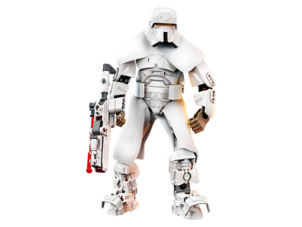 Stride into exciting battle action with this highly posable Range Trooper buildable figure, featuring furry clothing, chunky armor and spring-loaded shooter weapon.