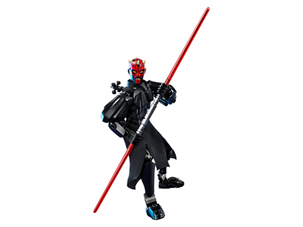 Spring into action with this highly posable Darth Maul buildable figure, featuring detailed head, textile tunic, double-bladed Lightsaber and wheel-operated arm-swinging battle function.
