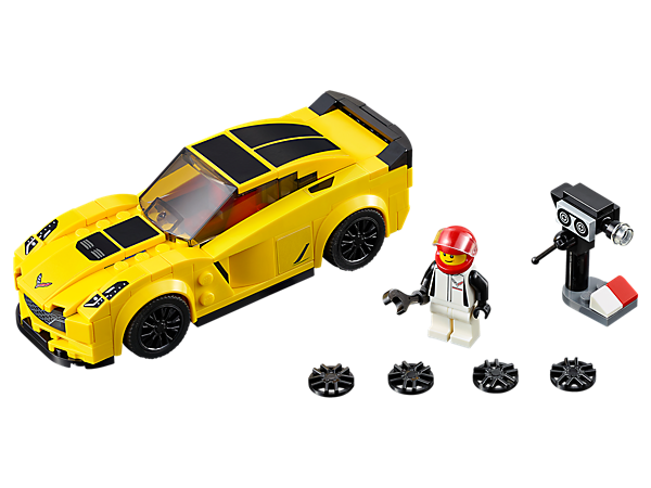 Gear up to race with the LEGO® Speed Champions Chevrolet Corvette Z06 with interchangeable wheel trims, a driver minifigure, plus TV camera and wrench elements.