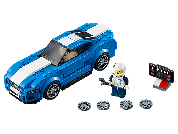 Muscle into first place with the LEGO® Speed Champions Ford Mustang GT with interchangeable wheel trims, a driver minifigure, plus wrench and timing-board elements.