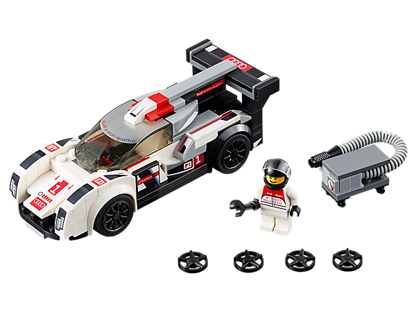 Power to victory with the Audi R18 e-tron quattro by LEGO® Speed Champions with interchangeable wheel trims, a driver minifigure, plus wrench and fuel-pump elements.