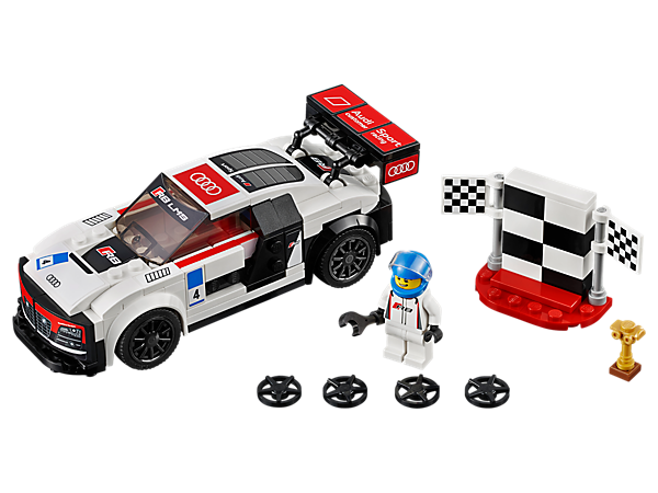 Win the trophy with the LEGO® Speed Champions Audi R8 LMS featuring a removable windshield, interchangeable wheel trims, victory podium and driver minifigure.
