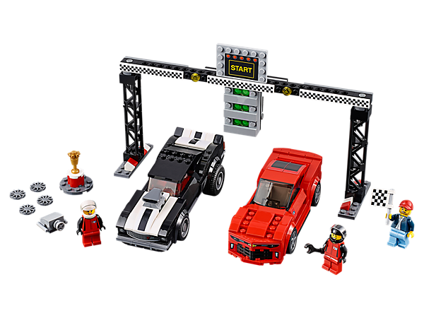 Stage a drag race between the LEGO® Speed Champions 1969 and 2016 Chevrolet Camaro cars, featuring a start line with start 'light' function, 3 minifigures and a trophy.