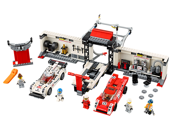 Prepare and race the LEGO® Speed Champions Porsche 919 Hybrid and Porsche 917K cars with a garage/pit stop, car lift, fuel pump, start/finish podium and more.