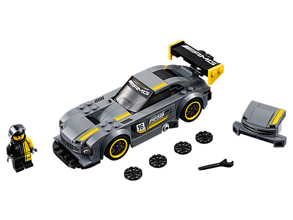Customize the LEGO® Speed Champions Mercedes-AMG GT3 featuring a removable front splitter, adjustable/removable rear wing, plus a cockpit for the included racing driver minifigure.