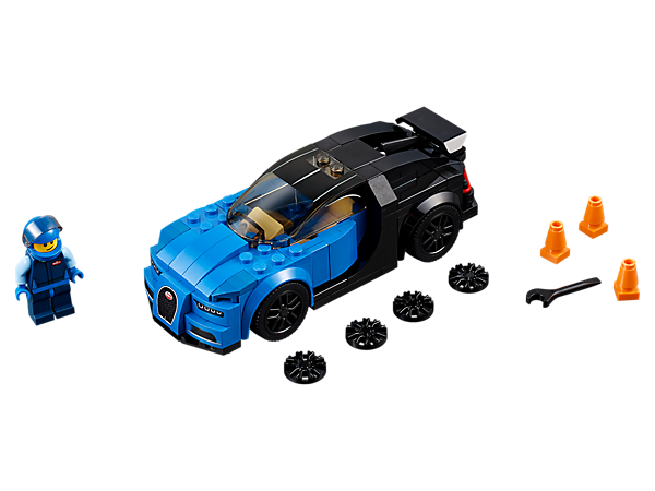Hit top speed with the LEGO® Speed Champions Bugatti Chiron with rubber tires, removable windshield and iconic details. Includes a minifigure and marker cones.