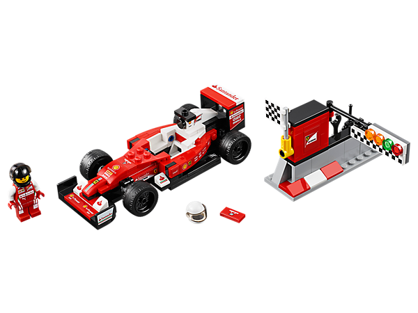 Prepare and race the LEGO® Speed Champions version of the Scuderia Ferrari SF16-H. Set includes a pit wall with start-finish line and a racing driver minifigure.