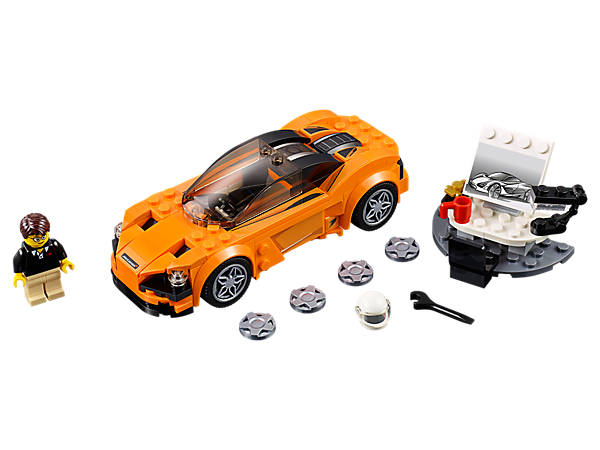 Design and race the LEGO® Speed Champions McLaren 720S with authentic details. Includes a desk, car design sketch and printed 3D miniature car elements, plus one minifigure.