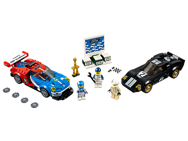 Stage a race between eras with the LEGO® Speed Champions 2016 Ford GT & 1966 Ford GT40. Includes a victory podium and three minifigures—two racing drivers and a race marshal.