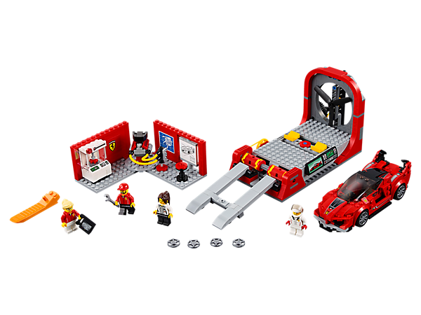 Test and design a LEGO® Speed Champions version of the Ferrari FXX K at the development center, with a wind tunnel and lab with 3D car model element. Includes four minifigures.