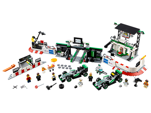 Join the LEGO® Speed Champions MERCEDES AMG PETRONAS Formula One™ Team in the pit garage, with two Mercedes F1 W07 Hybrid cars, grandstand/victory podium and eight minifigures.