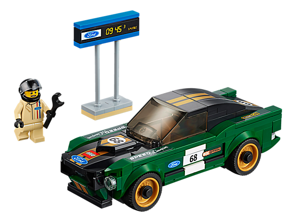 Drive a classic race with the LEGO® Speed Champions 1968 Ford Mustang Fastback, featuring authentic design details and a cockpit for the included racing driver minifigure, plus a 'timing' board.