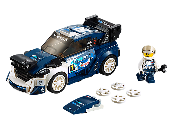 Conquer tough rally conditions with the LEGO® Speed Champions Ford Fiesta M-Sport WRC, featuring 2 interchangeable hoods, authentic design details and a cockpit for the included minifigure.